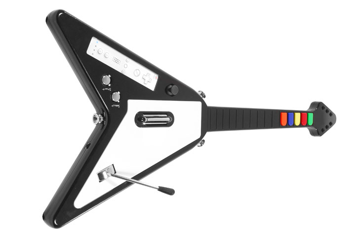 Wii wireless guitar controller for Guitar Hero in cool 'Flying V' design -